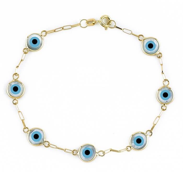 Pulseira Olho Grego Ouro 18K
