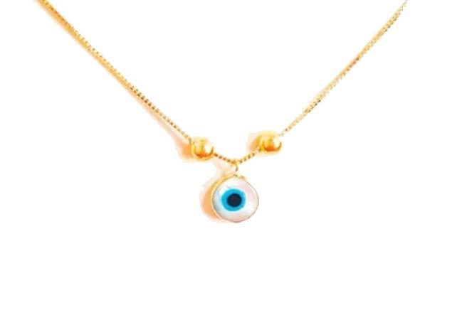 Tornozeleira com Pingente de ouro 18k Olho Grego