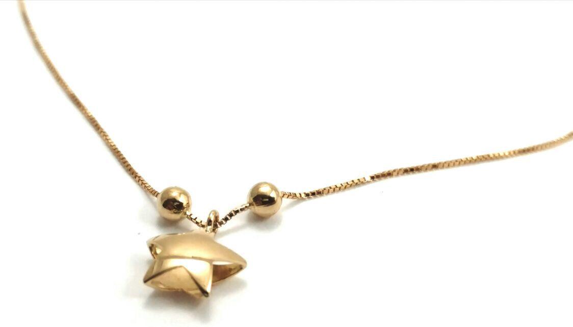 Tornozeleira de ouro 18k com pingente de estrela