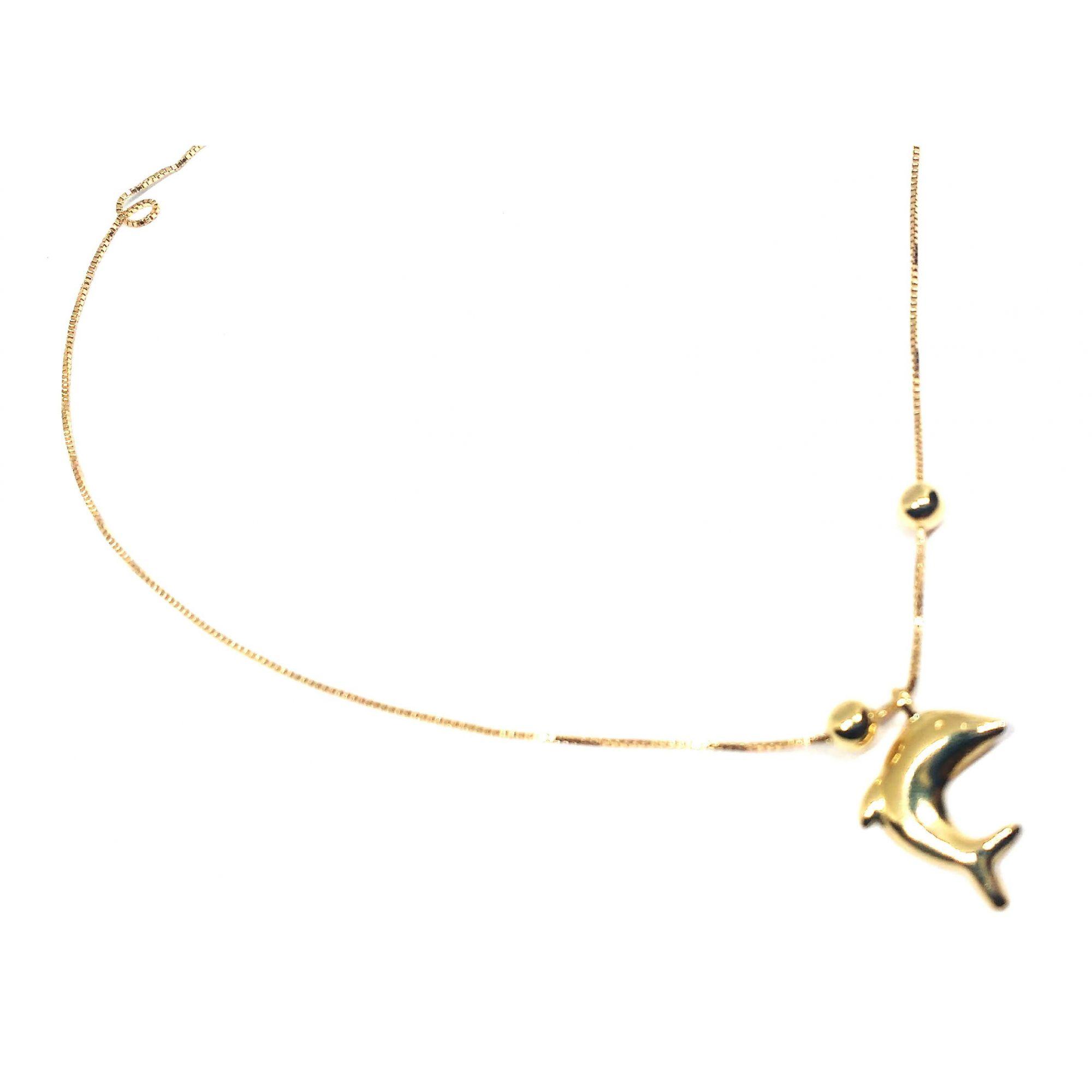 Tornozeleira de ouro 18k com pingente de golfinho