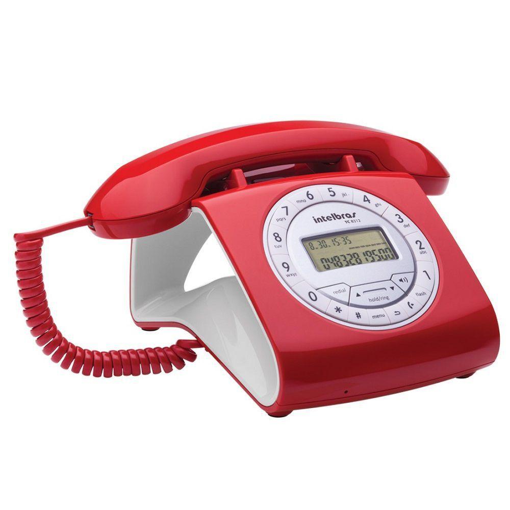 Telefone de mesa com fio TC 8312 Vermelho Retro Intelbras