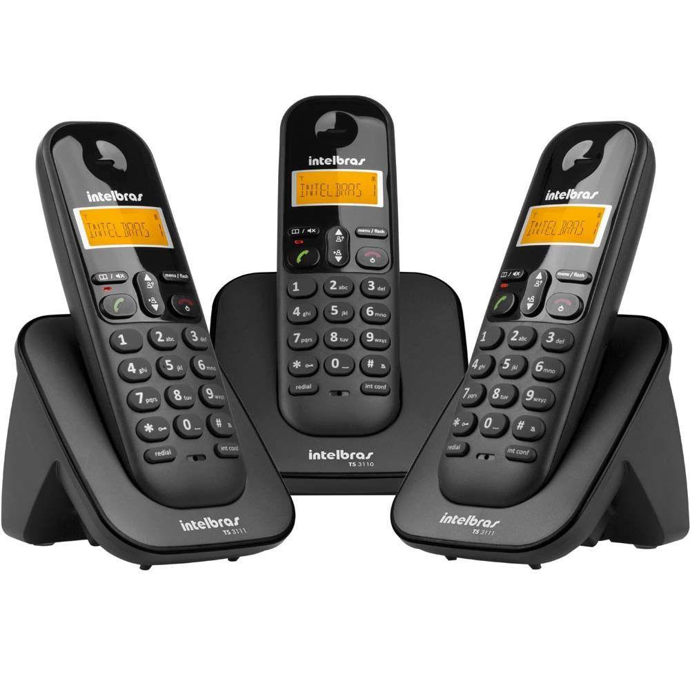 Intelbras Telefone S/fio Ts3113 Preto + 2 Ramais Dect6