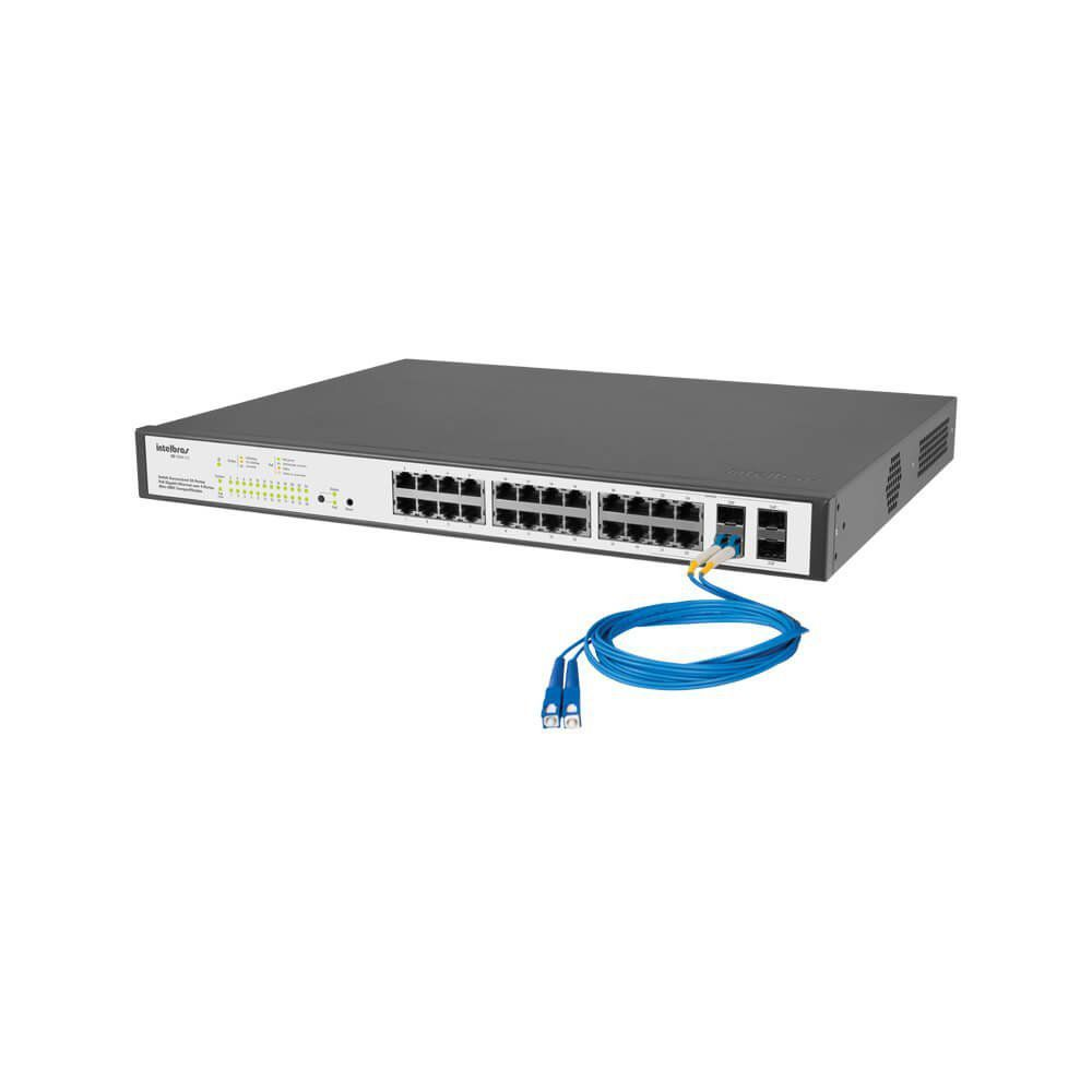 Switch 24portas Poe 4 P Mini gbic Intelbras Sg2404poe