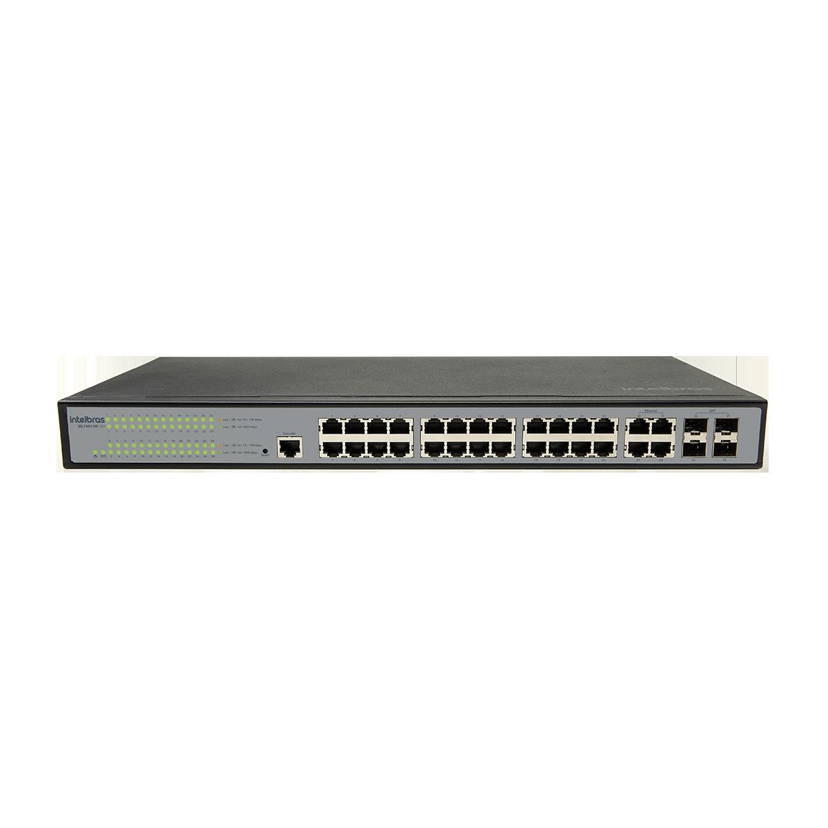 Switch gerenciável 24P Giga + 4P GBIC SG 2404 MR L2+ |Intelbras