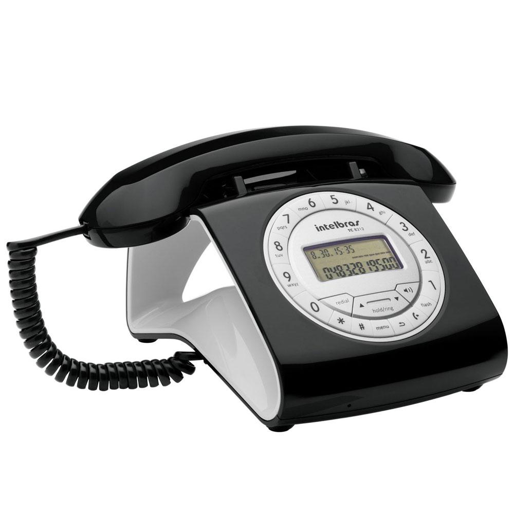 Telefone de mesa com fio TC 8312 Preto Retro Intelbras