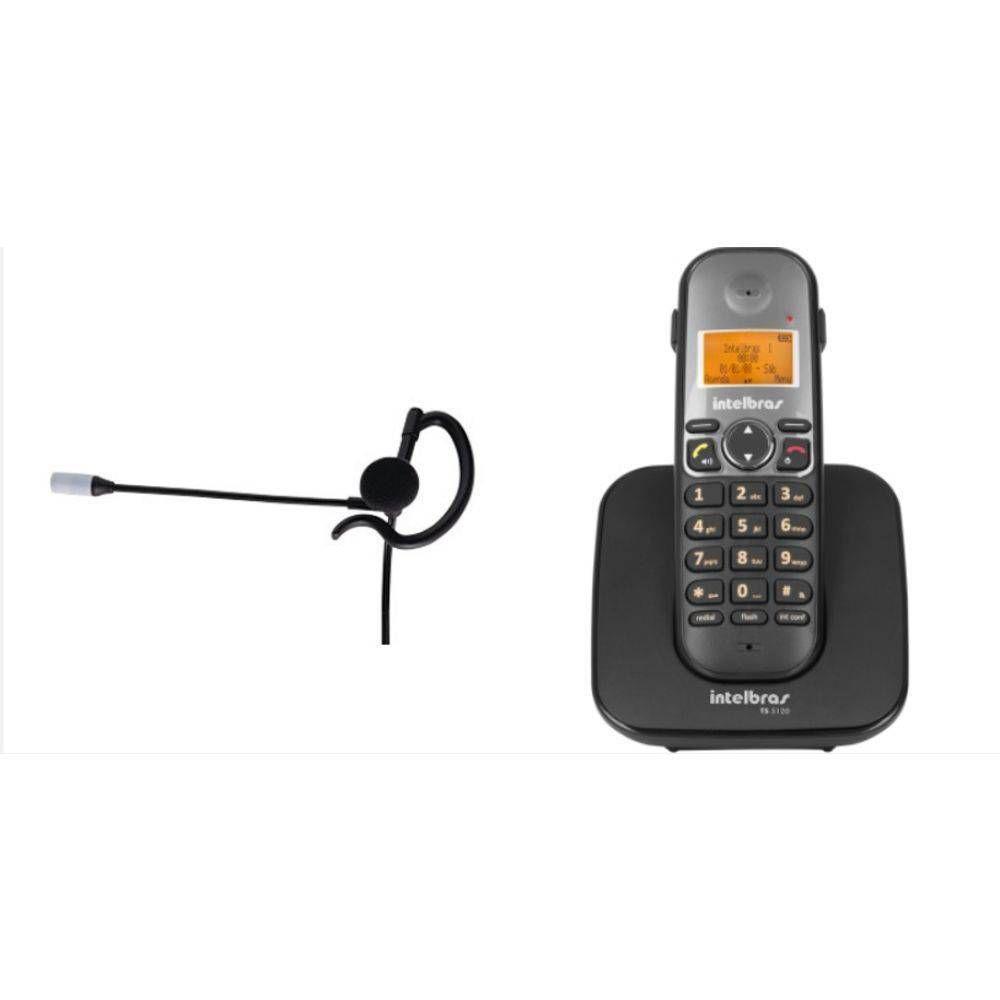 Telefone S/fio Viva Voz Conex Headset Intelbras Ts 5120 com Fone HC 10