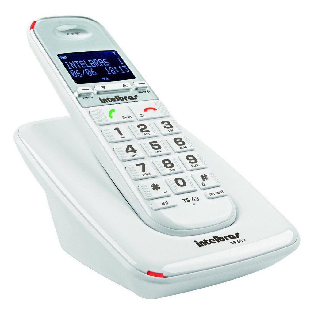 Telefone Sem Fio C/identificador Ts63 V Branco Intelbras
