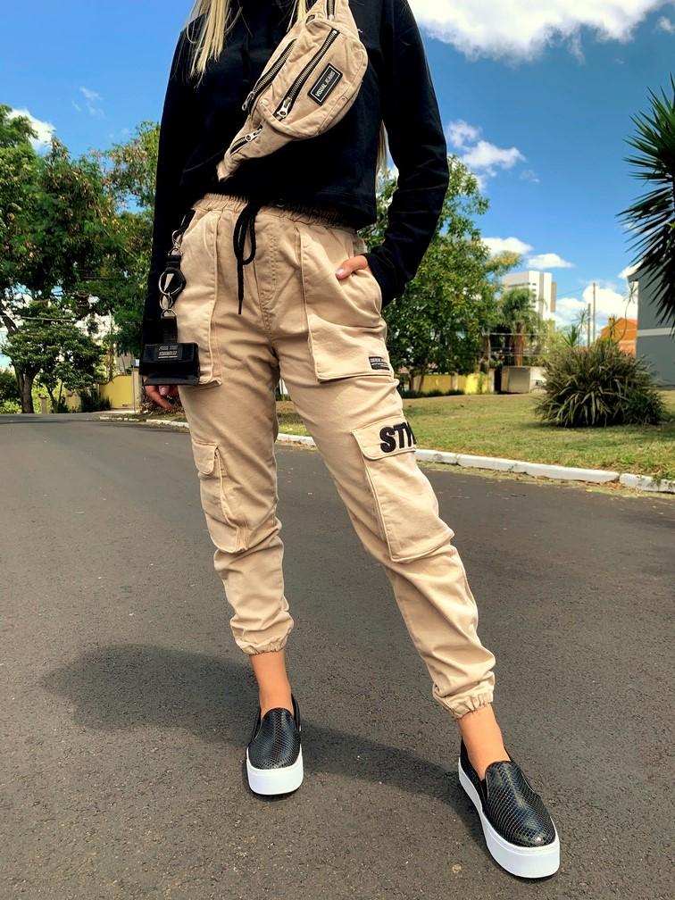 Calça Cargo Areia Visual Jeans  - Choque Concept
