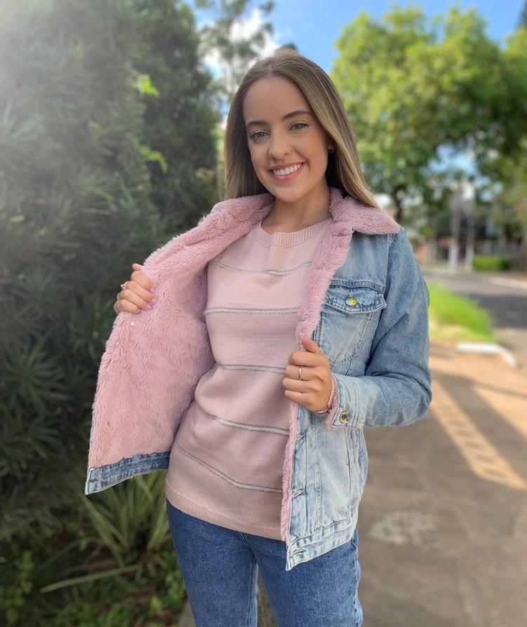 Jaqueta Trucker Jeans Rosa Visual  - Choque Concept