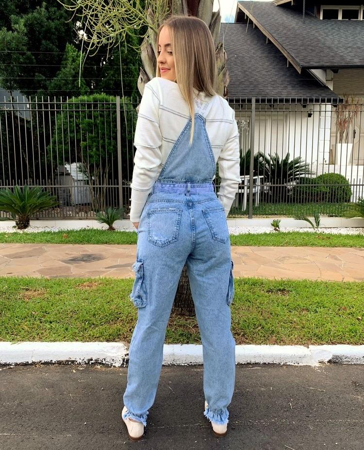 Jardineira Cargo Jeans Visual  - Choque Concept