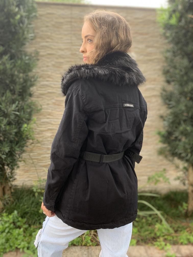 Parka Cargo Preta Sarja com pelinho Visual Jeans   - Choque Concept
