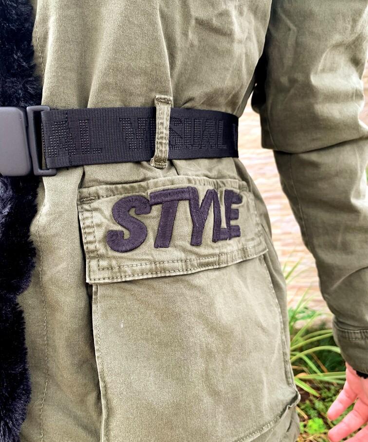 Parka Cargo Verde Sarja com pelinho Visual Jeans  - Choque Concept