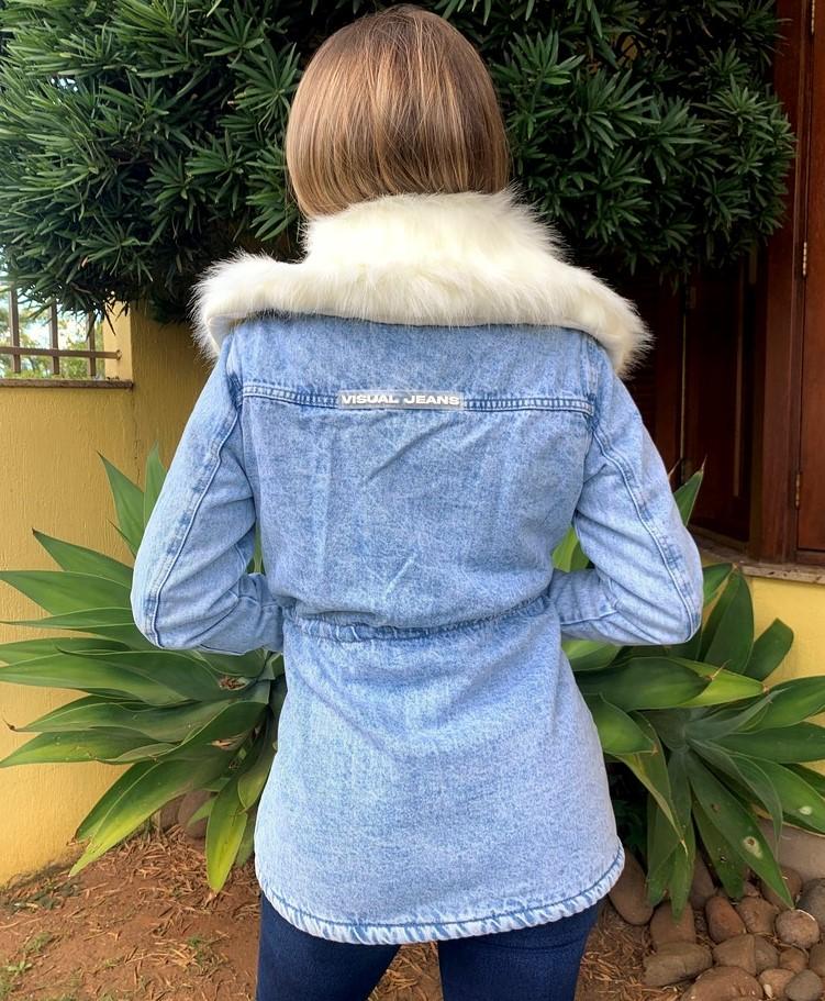 Parka jeans com pêlo Branco Visual   - Choque Concept