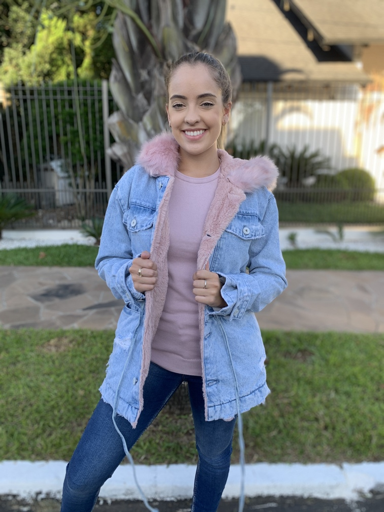 Parka jeans com pêlo Rosa Visual  - Choque Concept