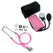Kit Estetoscópio Rappaport + Aparelho de Pressão Rosa Premium