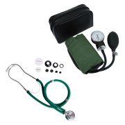 Kit Estetoscópio Rappaport + Aparelho de Pressão Verde Premium