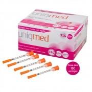 Seringa Insulina 0,3mL 30UI Agulha 6x0,25mm 31G - CX C/100 Un. UNIQMED