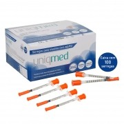 Seringa Insulina 0,5mL 50UI Agulha 6x0,25mm 31G CX C/100 Un. UNIQMED