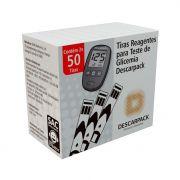 Tiras reagentes p/ teste de glicemia c/ 100 un Descarpack