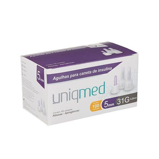 Agulha para Caneta de Insulina 5mm 31G caixa C/100UN UNIQMED