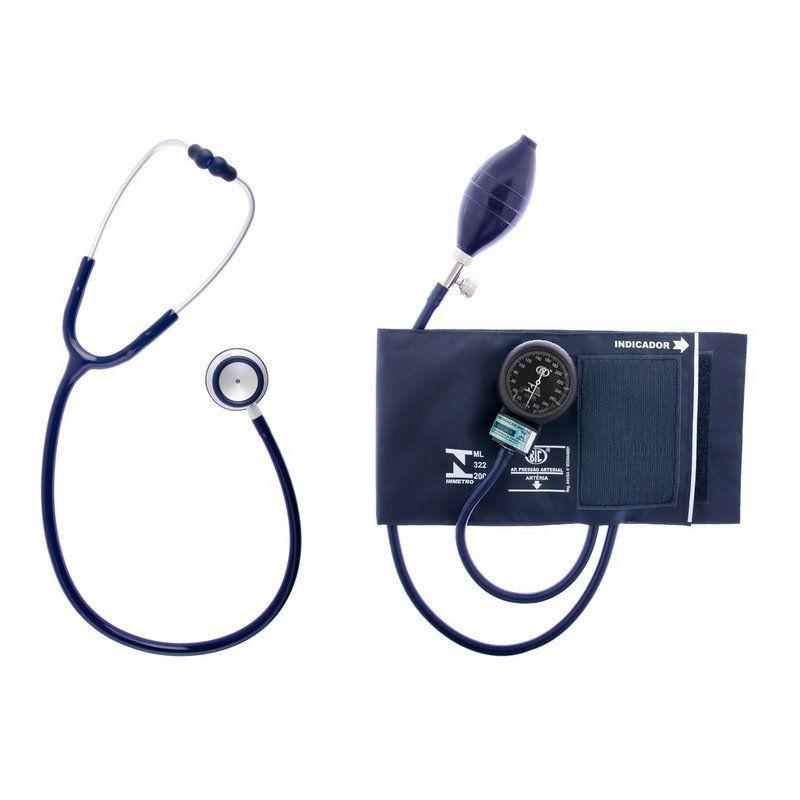 Conjunto Esfigmomanômetro + Estetoscópio AZUL CJ0742 BIC