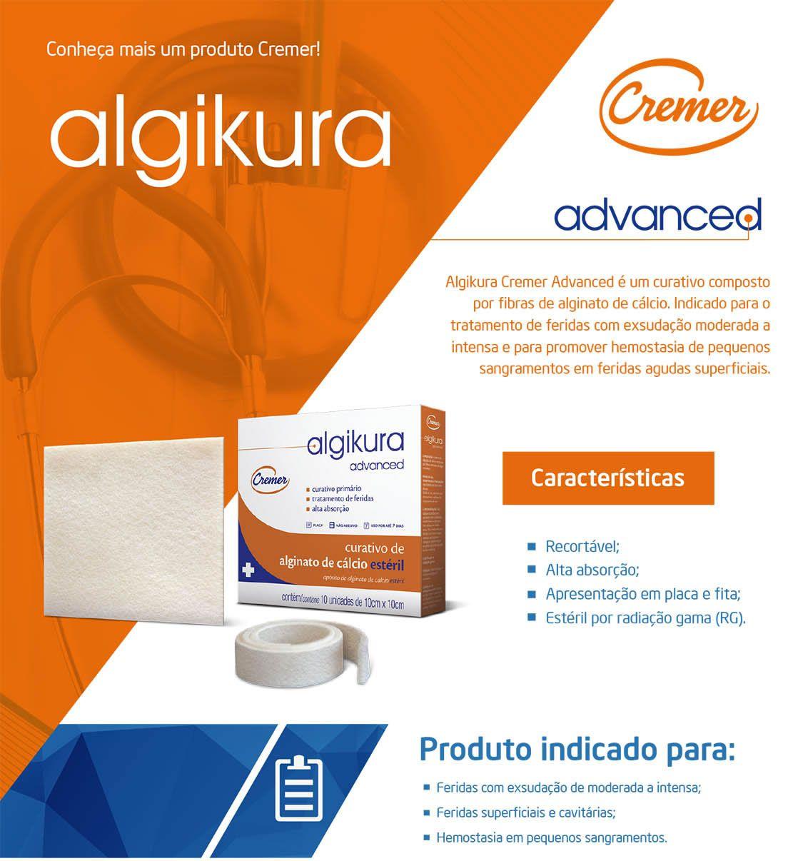 Curativo Alginato Cálcio Algikura 10x10cm CX C/ 10 Un. Cremer
