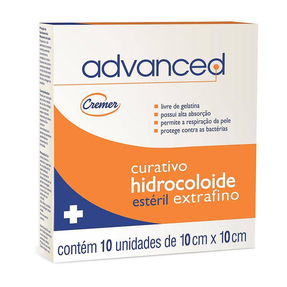 Curativo Hidrocolóide Advanced 10x10cm Extrafino Cx C/ 10 Un. Cremer