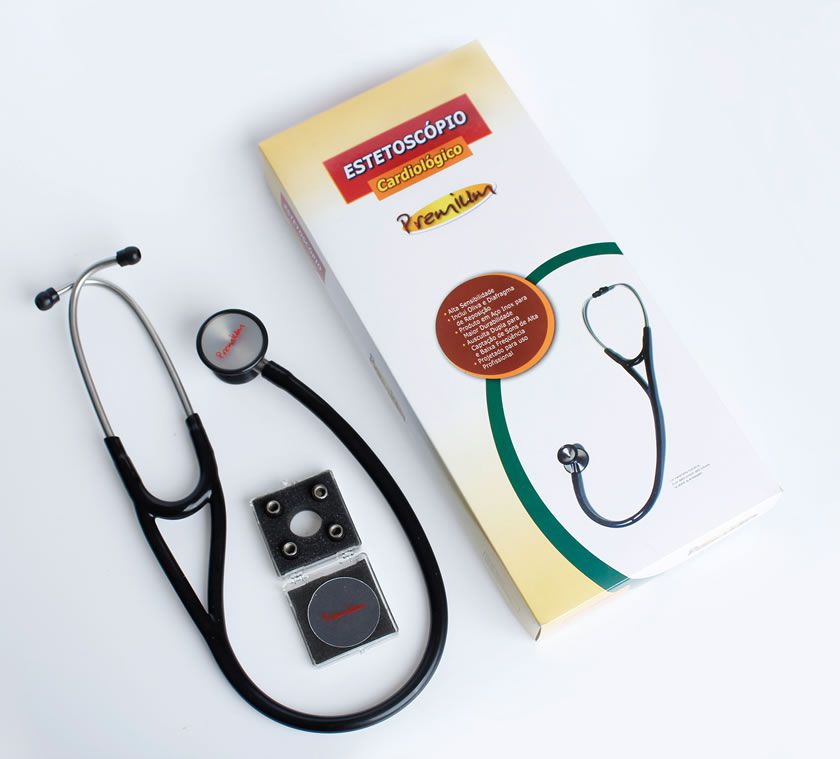Estetoscópio Cardiológico Profissional Preto Premium