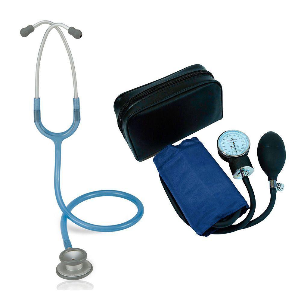 Estetoscópio Pro-lite Azul Royal Transparente Spirit + Aparelho de Pressão Azul Premium