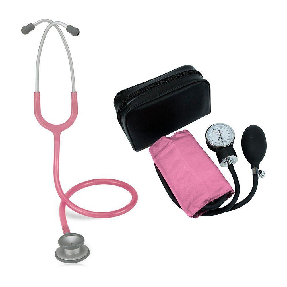 Estetoscópio Pro-Lite Rosa Perolizado Spirit + Aparelho de Pressão Rosa Premium