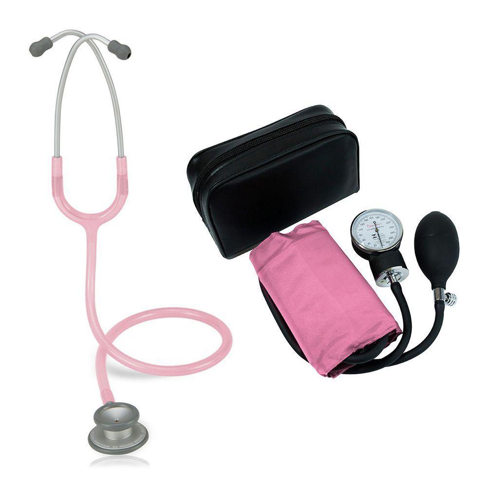 Estetoscópio Pro-lite Rosa Transparente Spirit + Aparelho de Pressão Rosa Premium