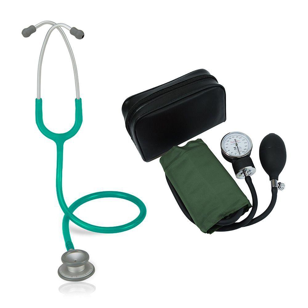 Estetoscópio Pro-Lite Verde Perolizado Spirit + Aparelho de Pressão Verde Premium
