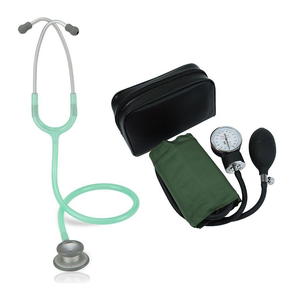 Estetoscópio Pro-lite Verde Transparente Spirit + Aparelho de Pressão Verde Premium