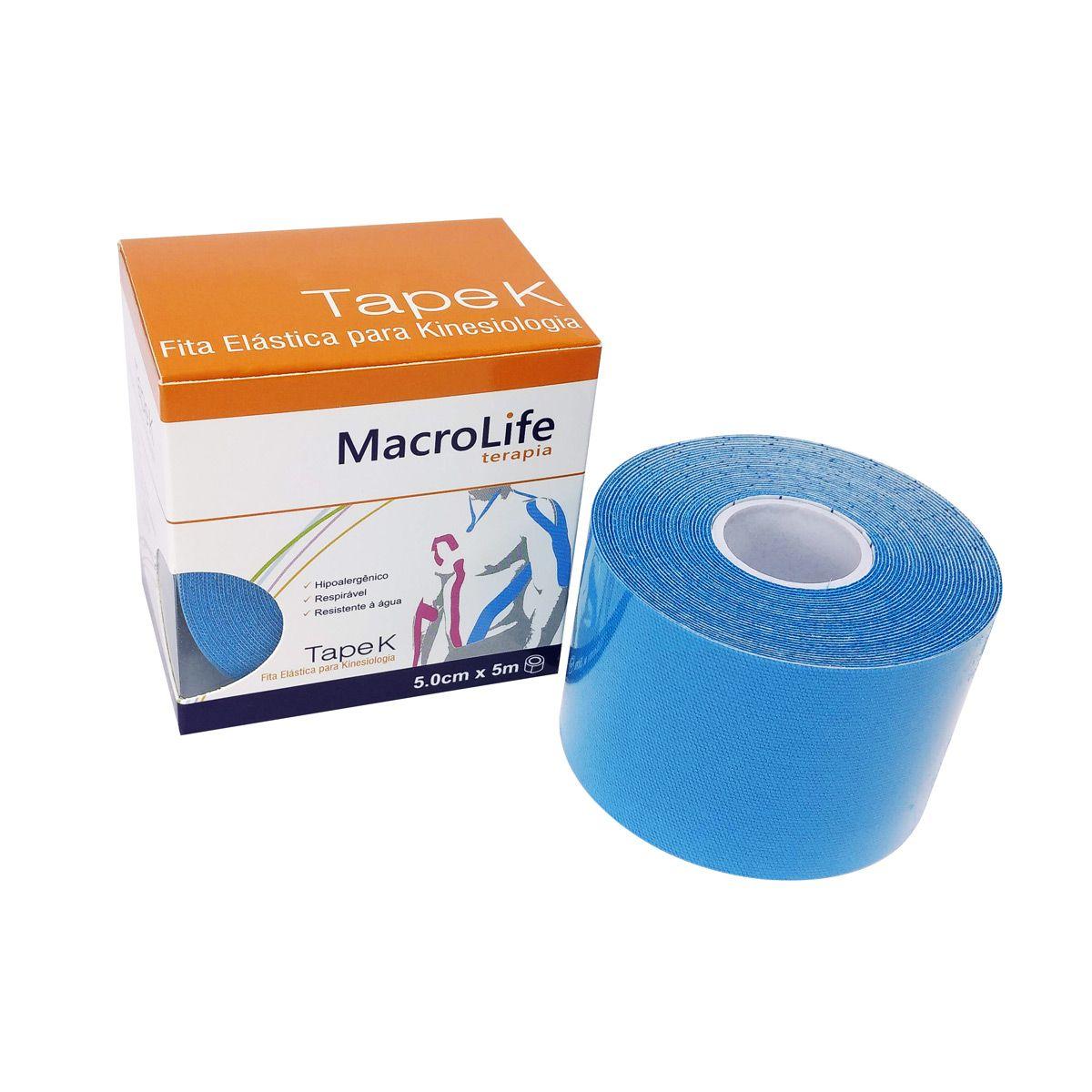 Fita Adesiva Elástica Tape K Kinésio 5cm x 5m Azul Macrolife