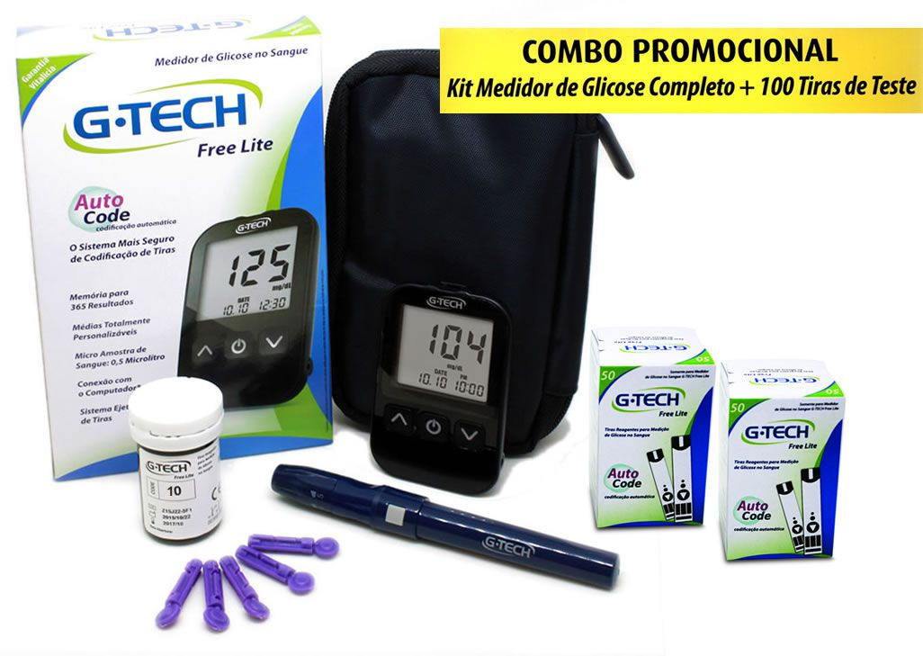 Kit Medidor De Glicose Lite + 100 Tiras G-Tech
