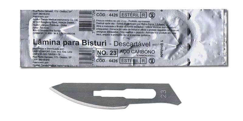 Lâmina Bisturi Aço Carbono Nº23 Unidade LABOR IMPORT