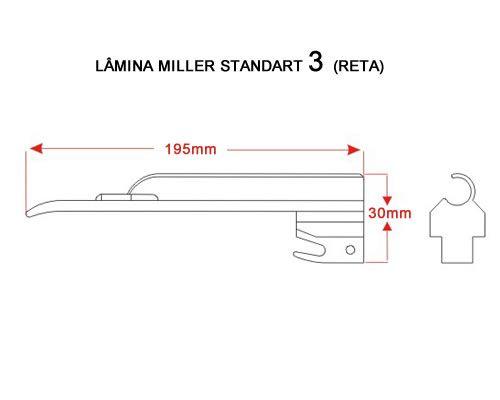 Lâmina Laringoscópio Convencional Miller Reta Tam 3 MD