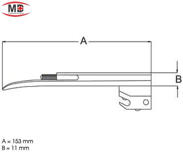 Lâmina Laringoscópio Standard Miller Reta Tam 2 MD