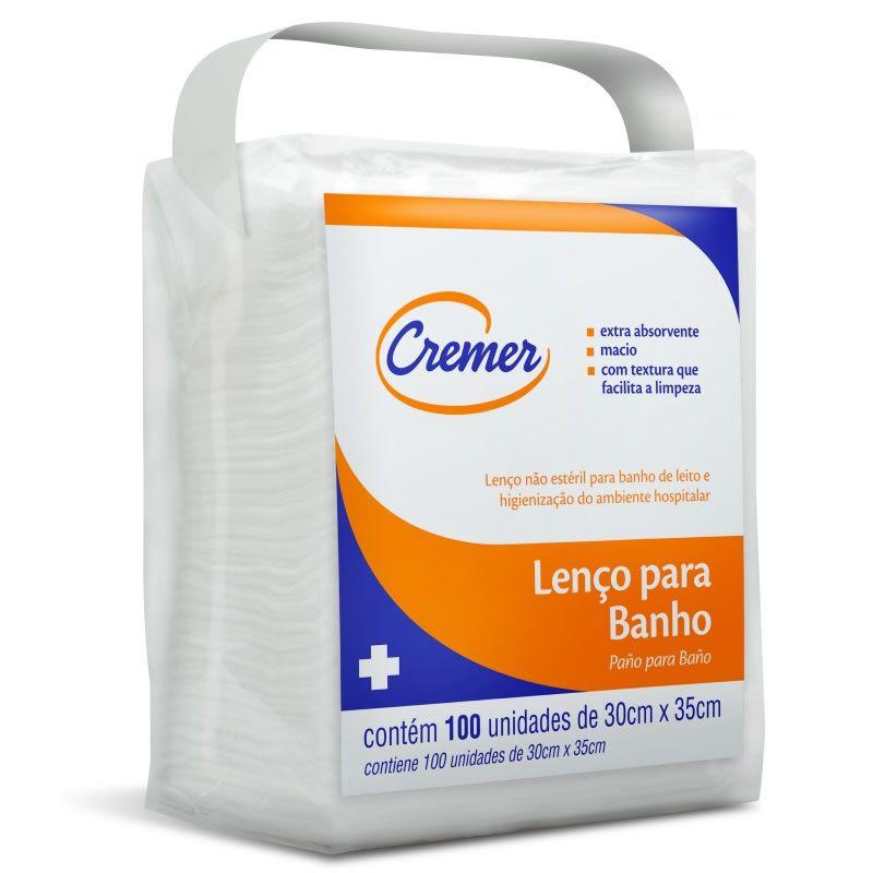 Lenço para Banho e Higienização Pacote c/ 100 Un. Cremer