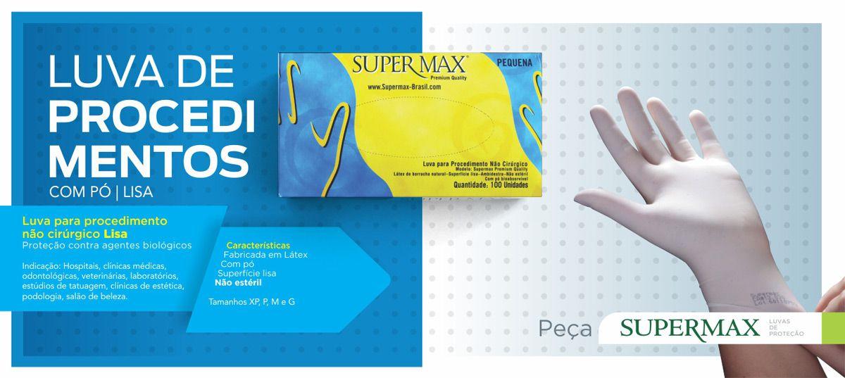 Luva De Látex Com Pó Tam. G C/ 100 Un. Supermax