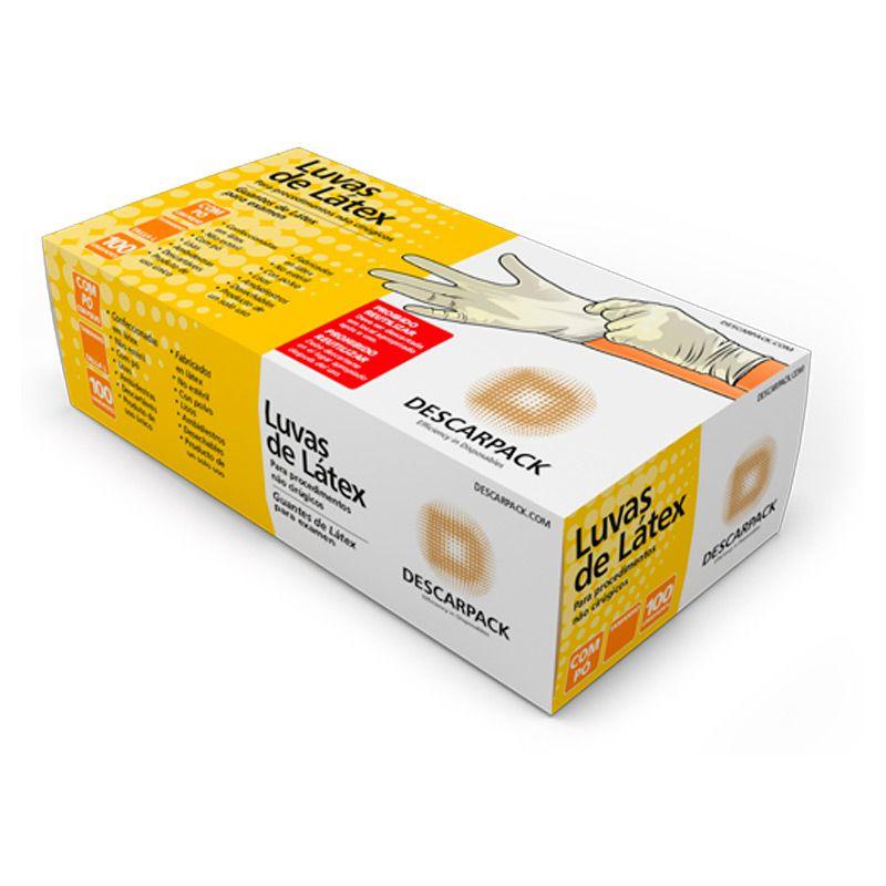 Luva de Látex para Procedimentos Tam. M c/100 Un. Descarpack