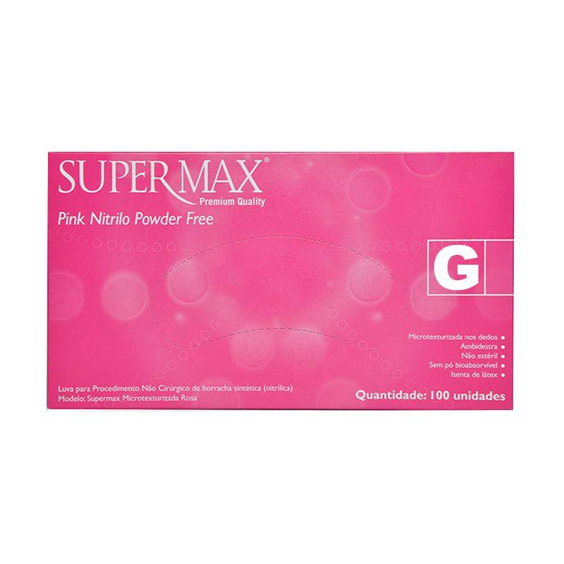 Luva Nitrílica Pink Sem Pó Tam. G C/ 100 Un. Supermax