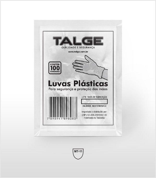 Luva Plástica Descartável Tam. Único C/ 100 Un. Talge
