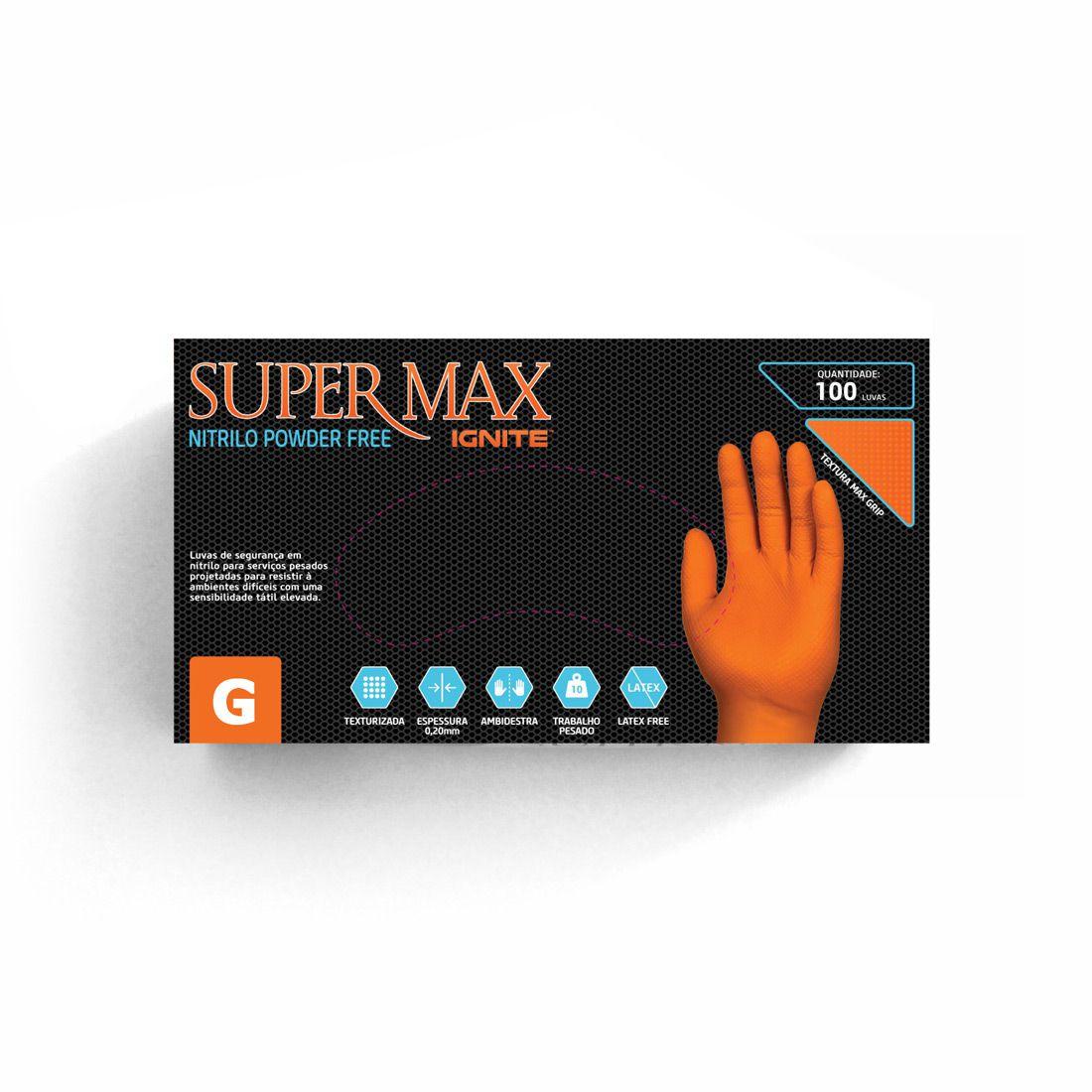 Luva Proteção Ignite Nitrílica Laranja Sem Pó TAM. G C/ 100 UN. Supermax