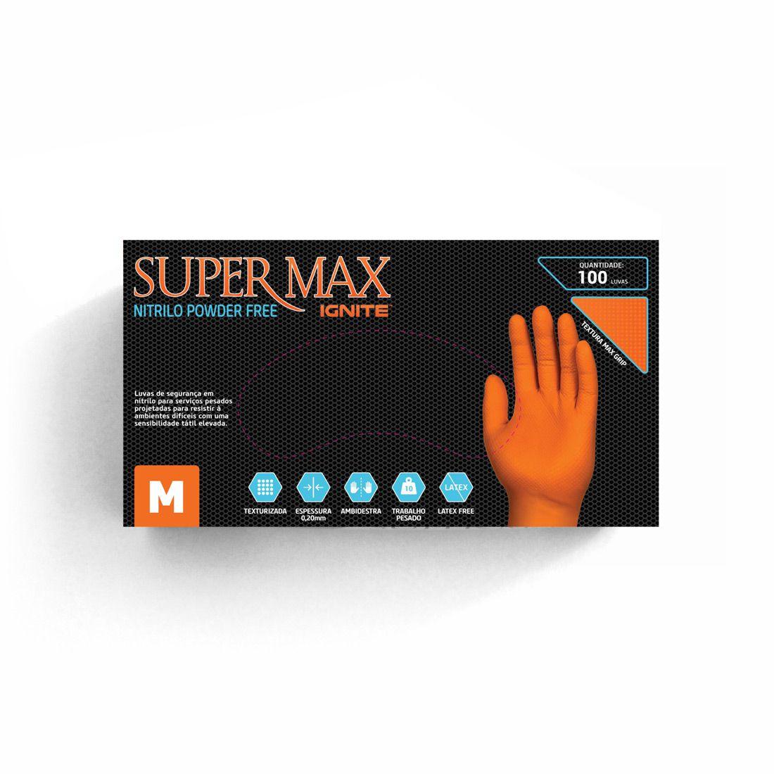 Luva Proteção Ignite Nitrílica Laranja Sem Pó TAM. M C/ 100 UN. Supermax