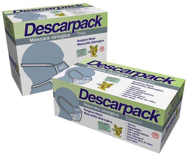 Máscara Cirúrgica Tripla Com Tiras C/ 50 Un. Descarpack