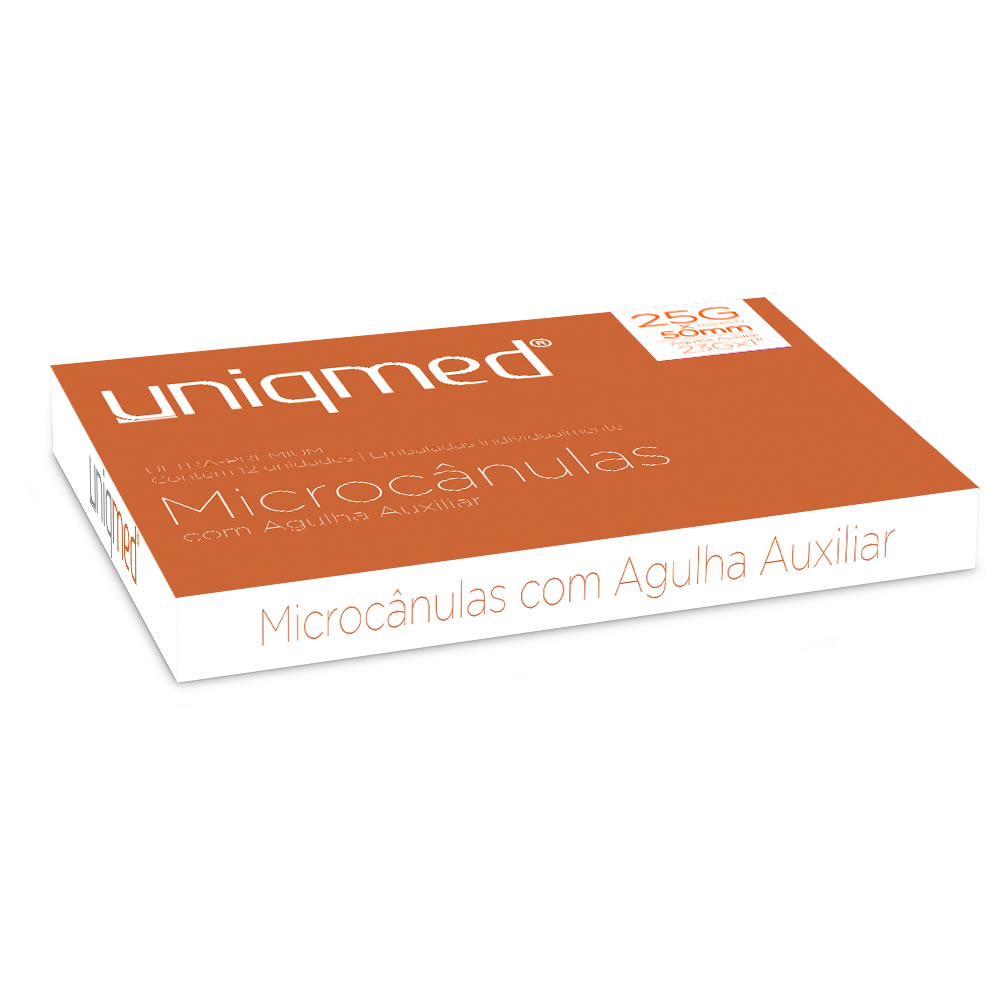 Microcânula com Agulha Auxiliar 25G x 50mm c/12 un Uniqmed