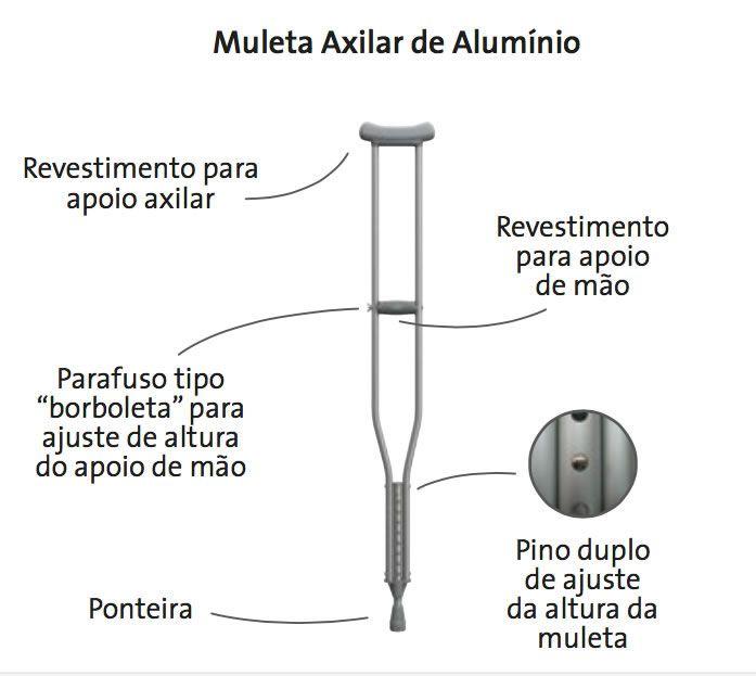 Muleta Axilar Pequena em Alumínio Mercur