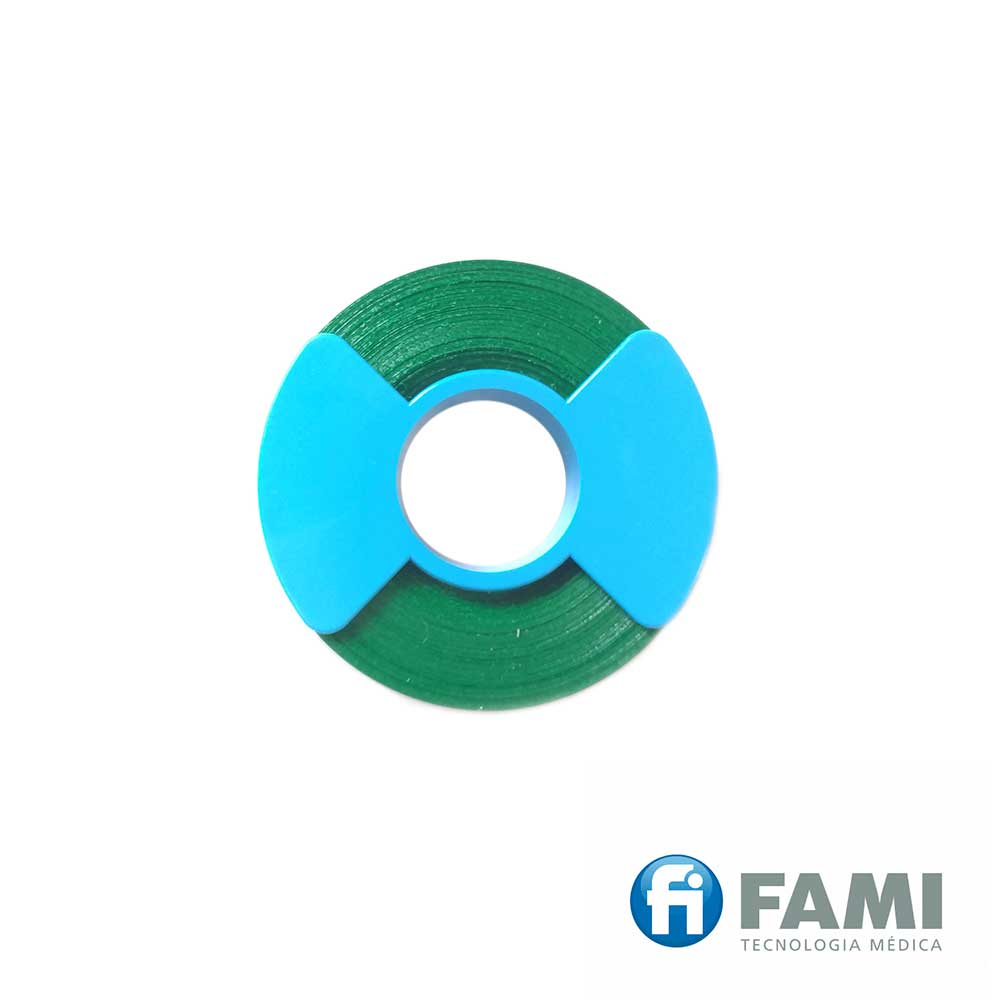 ROLO DE FITA PARA IDENTIFICAÇÃO DE INSTRUMENTAL 6,4MM VERDE INTERLOCK