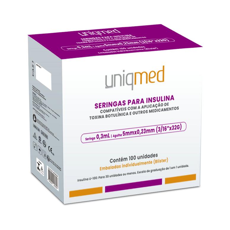 Seringa Insulina 0,3mL 30UI ag. 5x0,23mm 32G C/100un UNIQMED